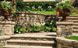 Каменная лестница: из искусственного материала, ступени из натурального камня, облицовка