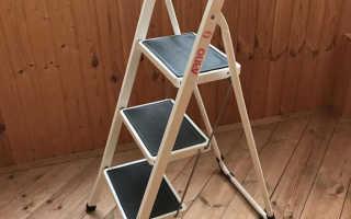 Стремянка 3 ступени: с широкими ступенями для дома, с резиновым покрытием
