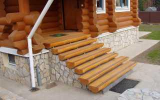Деревянные ступени из березы, бревен на крыльцо, изготовление комбинированной лестницы