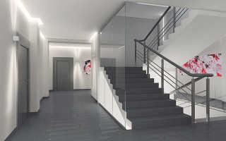 Лестничная клетка: незадымляемая, элементы и светильники на площадках и проемах, подпор воздуха