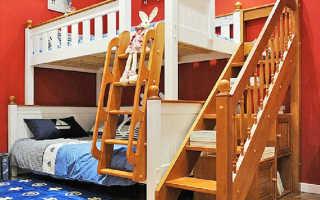 Лестница для двухъярусной кровати: вертикальная, маршевая, комод (стеллаж), своими руками