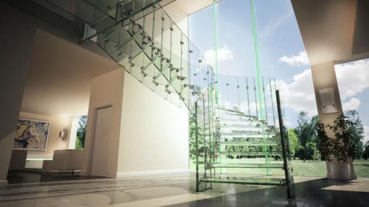Стеклянная лестница в доме