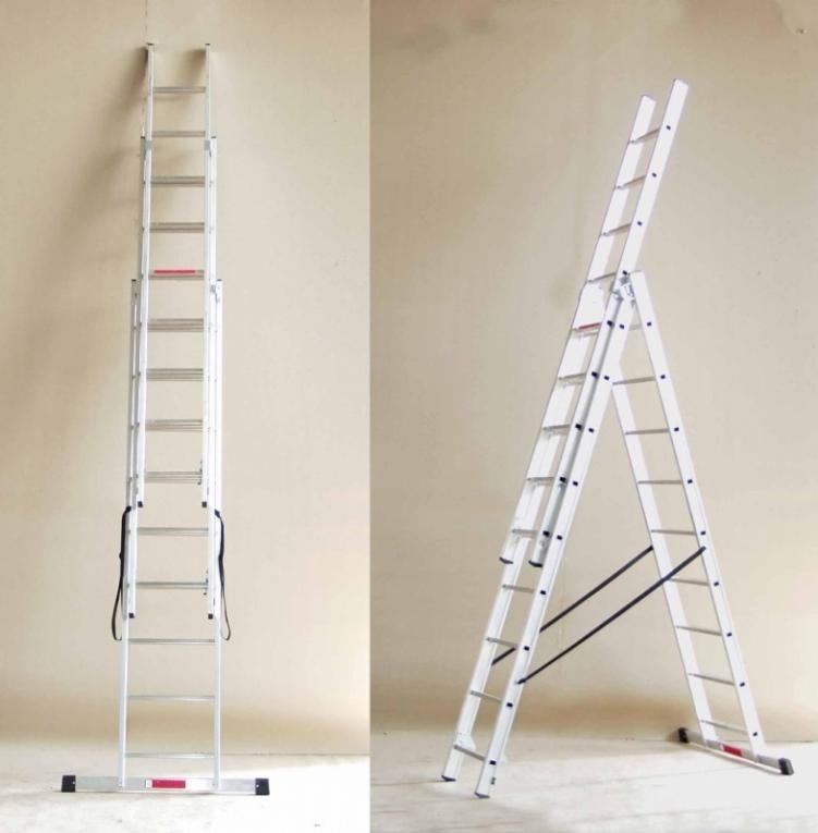 Выдвижная трехсекционная лестница