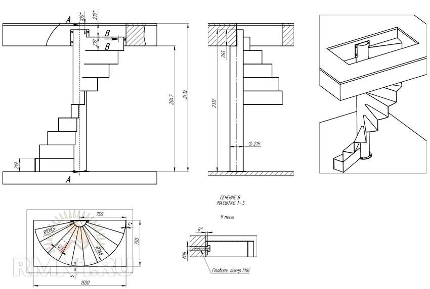 Размеры проема винтовой лестницы
