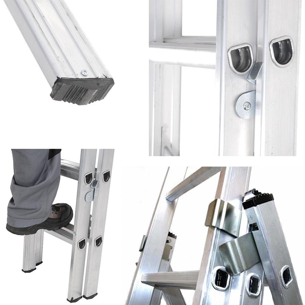Детализация трёхсекционной лестницы-стремянки