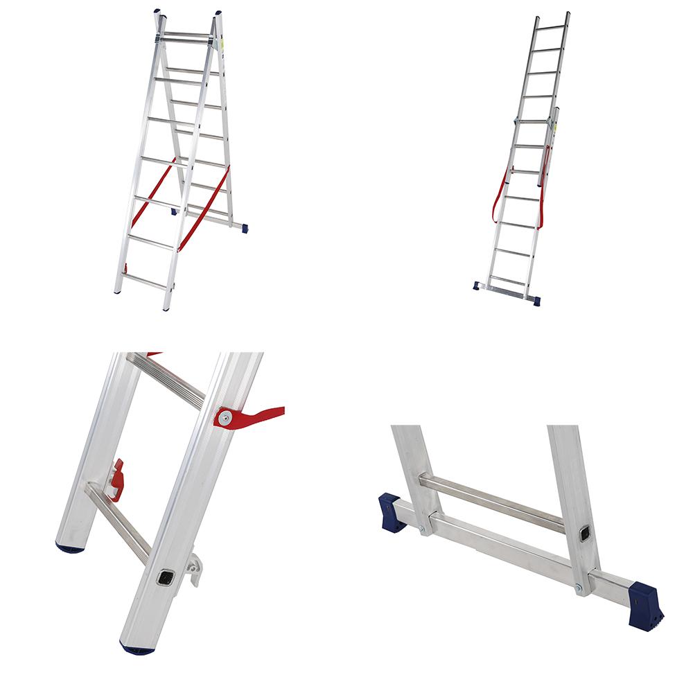 алюминиевая двухсекционная лестница-стремянка