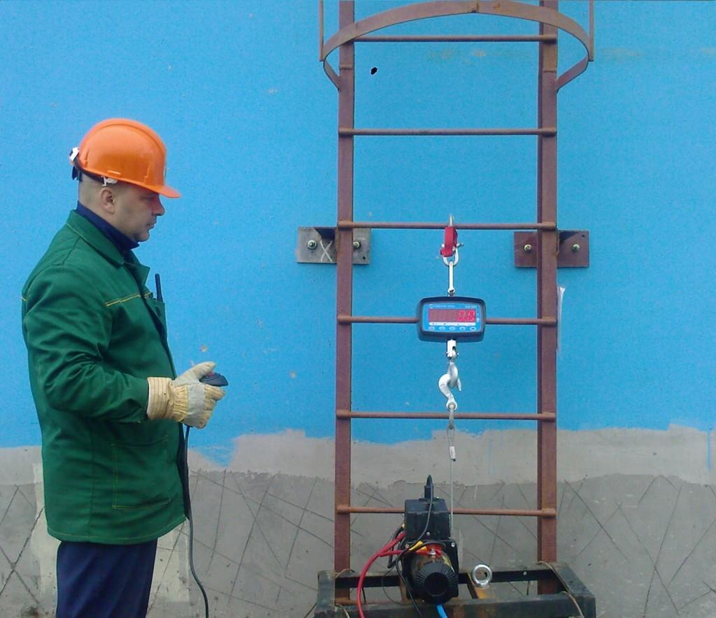 Испытание вертикальной пожарной лестницы