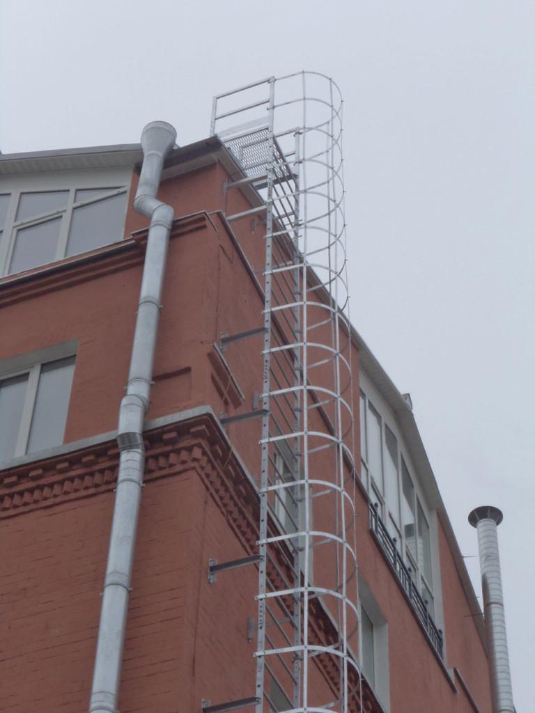 Вертикальная лестница с круговым ограждением