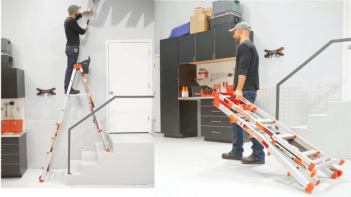 алюминиевая лестница в работе и в сложенном виде