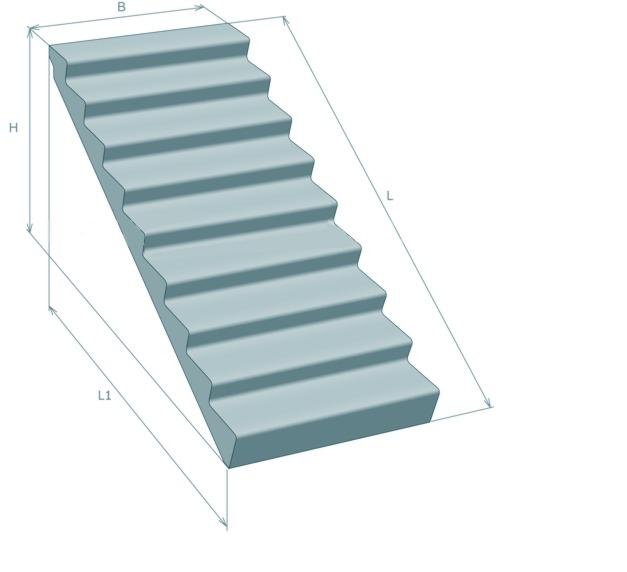 Железобетонный лестничный марш без фризовых ступеней (ЛМ)